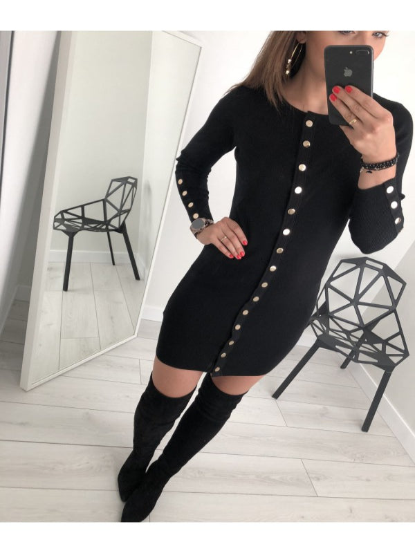 Sexy Slim Solid Color Button Knit Dress