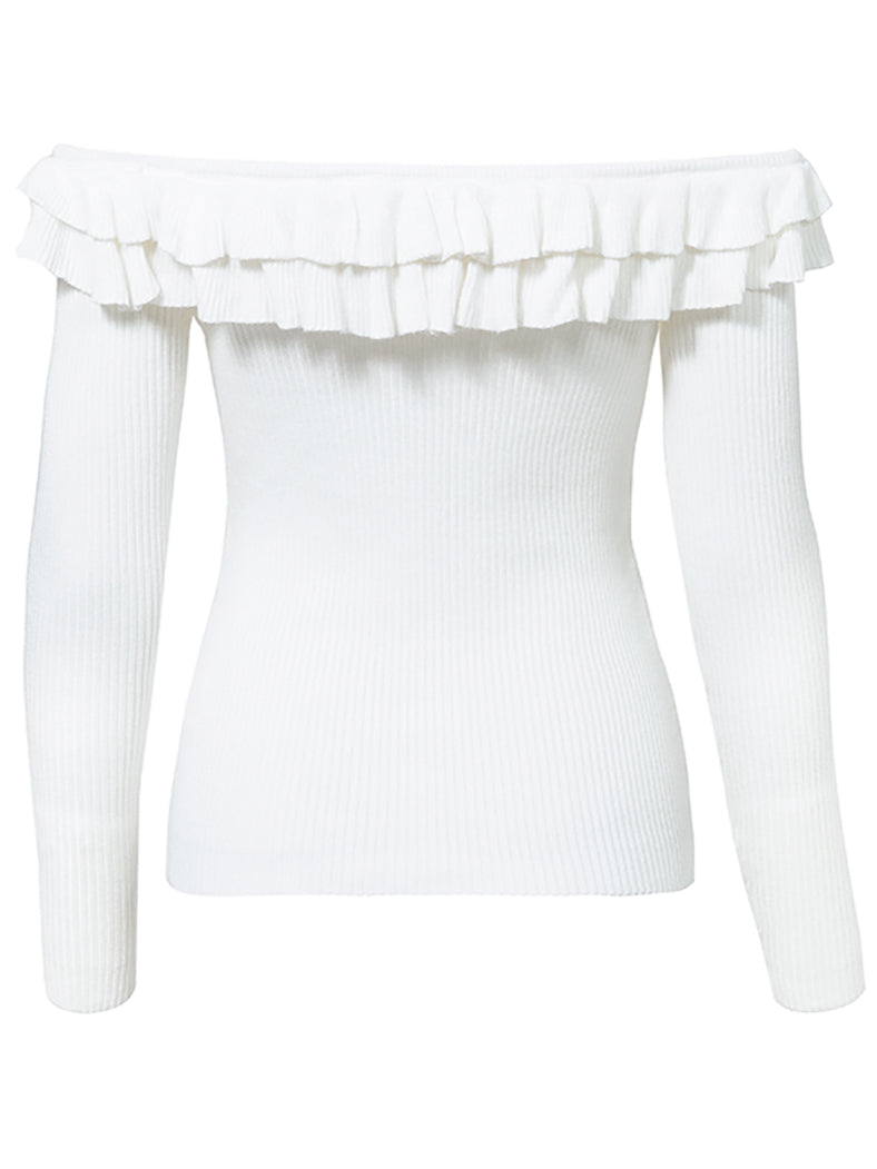 Sexy Off Shoulder Elegant Ruffles Long Sleeve Jumper-Sweaters-BelleChloe