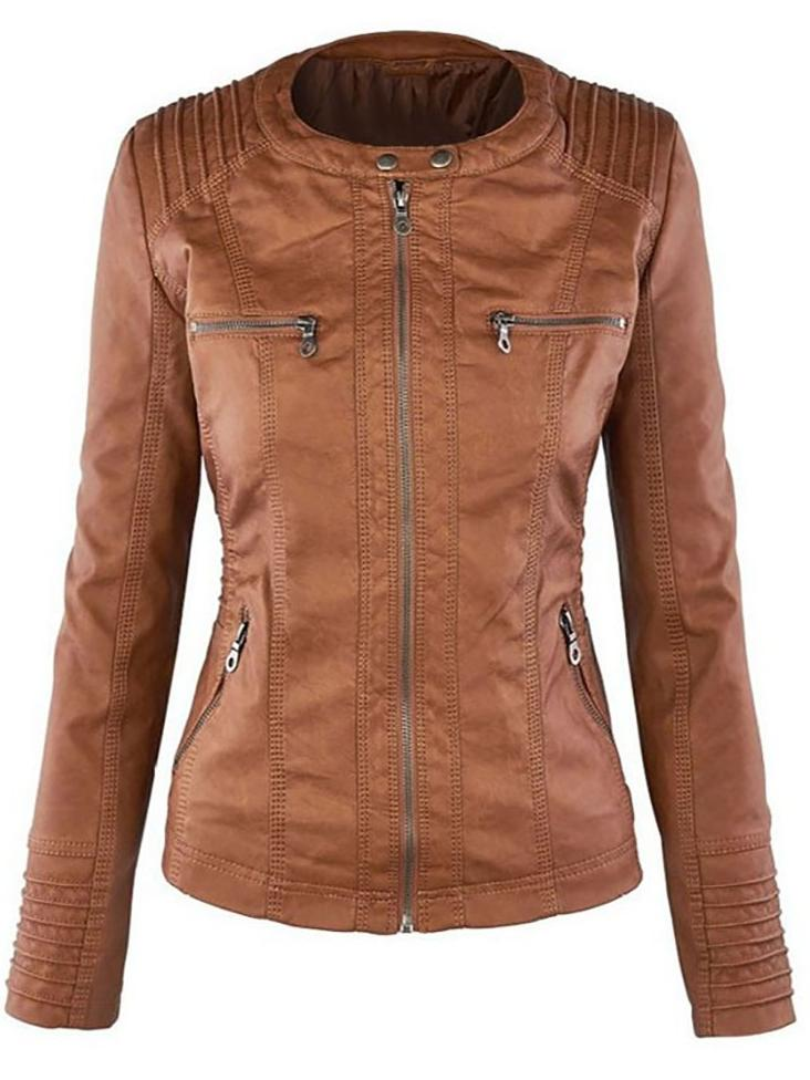 Detachable Lapel Long Sleeve Zipper Female Leather Jacket - BelleChloe