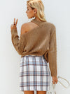 Strapless Shoulder Halter Fashion Knitted Pullover Long Sleeve Sweaters