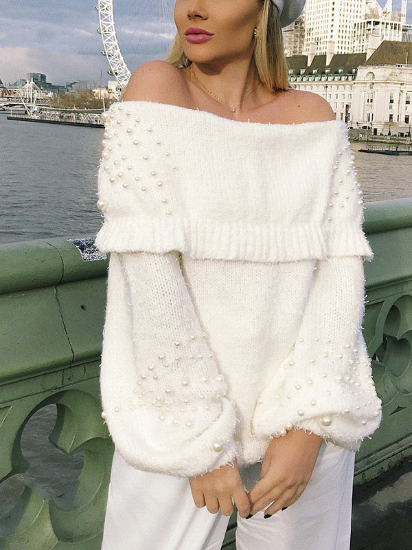 Strapless Shoulder Knitted Lantern Sleeve Pullover  Sweaters