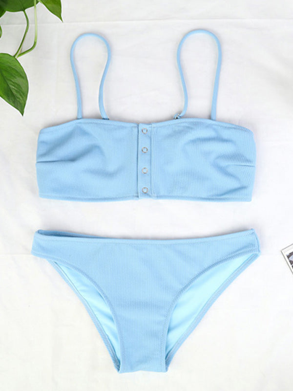 Solid Color Sexy Snap Split Swimsuit - BelleChloe