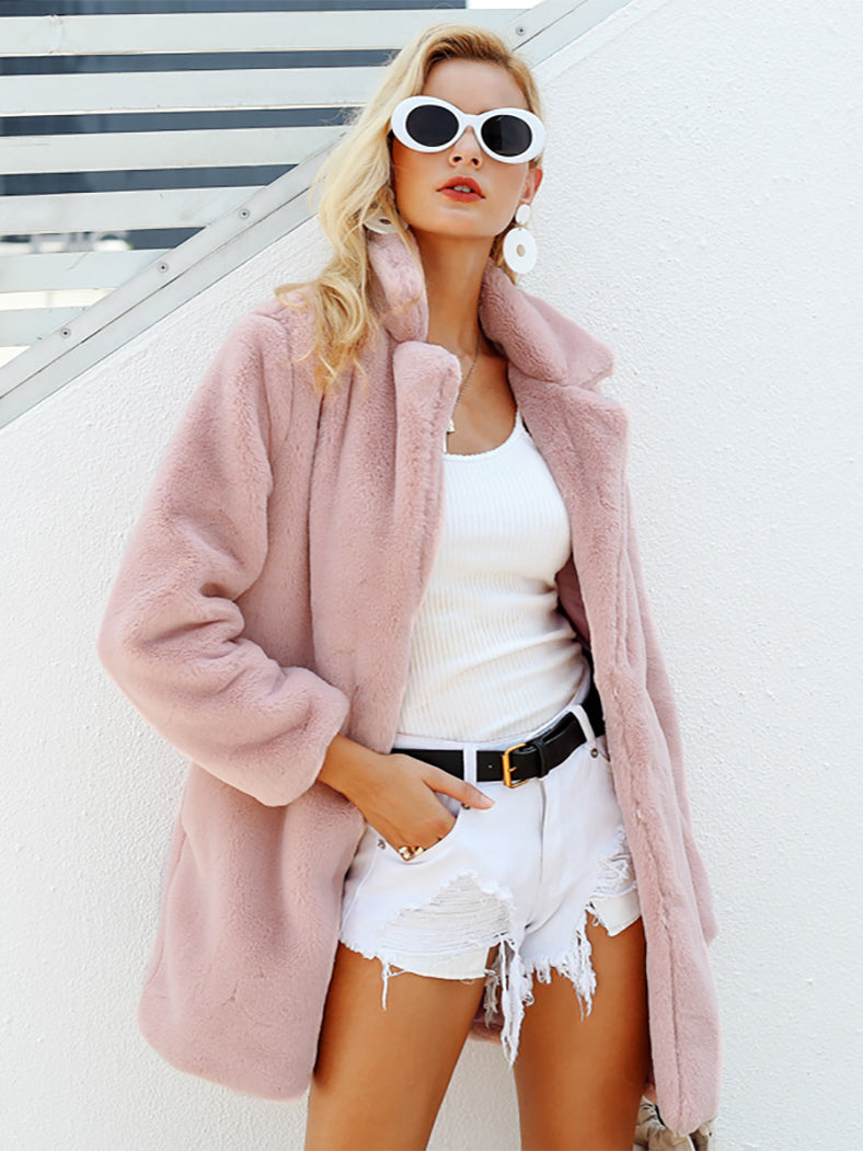 Elegant Shaggy Faux Fur Streetwear Winter Plush Teddy Coat - BelleChloe