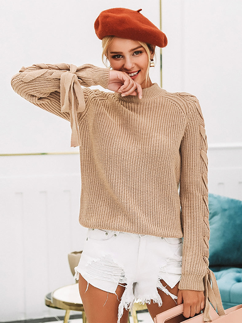 O-Neck Knitted Thick Pullover Casual Lace Up Sleeve Sweater-Sweaters-BelleChloe