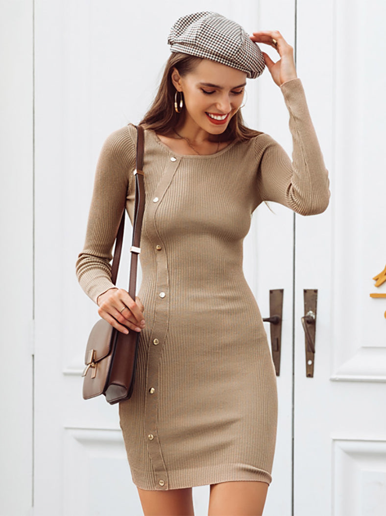 Casual Rivet Black Knitted Sweater Dress Sexy Bodycon Dresses - BelleChloe