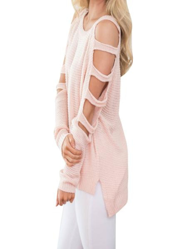 New Strapless Shoulders Solid Color Loose Sweater - BelleChloe