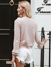 Women Elegant O-Neck Ruffle Knitted Long Sleeve Sweater-Sweaters-BelleChloe