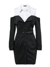 Elegant Fake Two Piece Stripe Office Lady Dress - BelleChloe