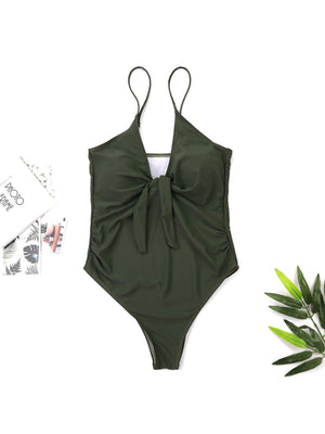 Solid Color Sling Chest Flower Sexy One Piece Swimsuit - BelleChloe