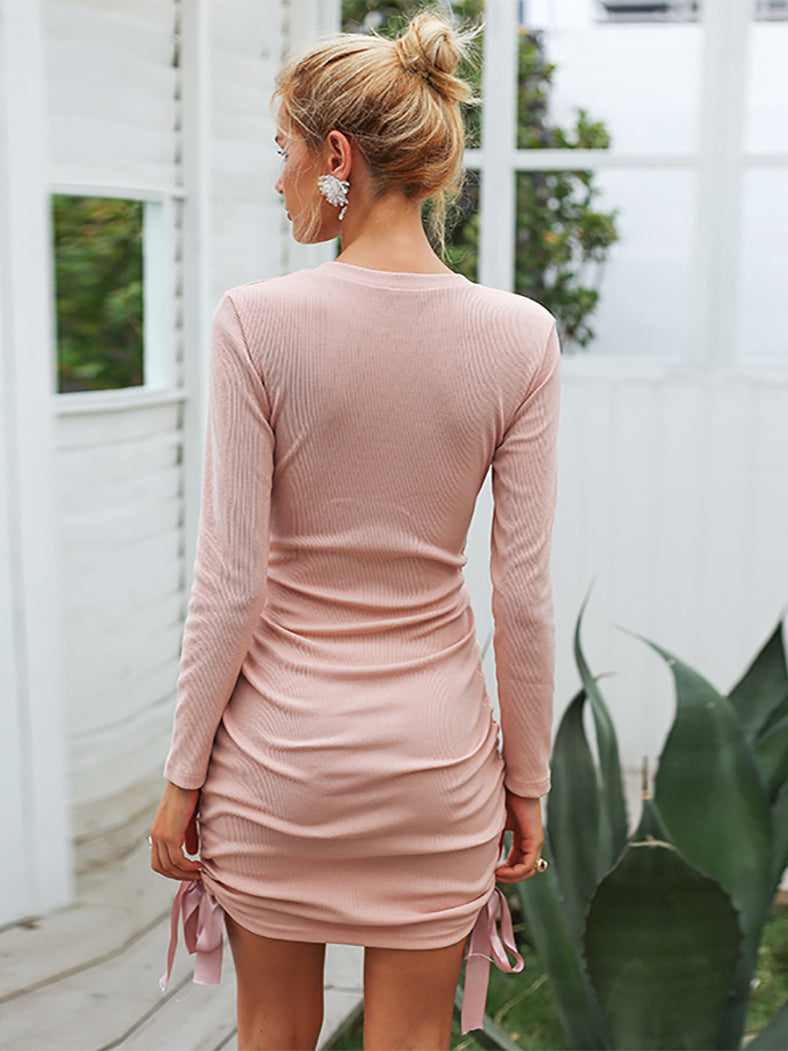 Drawstring Pink Knitted Sweater Dress Sexy Bodycon Dresses - BelleChloe