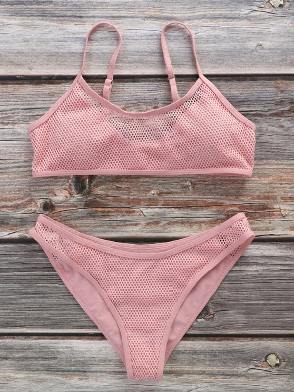 Sexy Hollow Mesh Adjustable Split Bikini