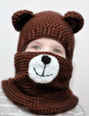 Christmas Hair Ball Knit Beard Mask Wool Hat