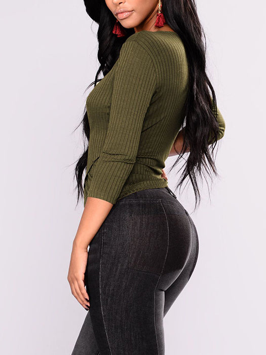 Solid Color V-Neck Long Sleeve Knitted Bottoming Top - BelleChloe