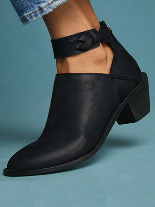 Women Plus Size Chunky Heel Booties Daily Zipper Boots - BelleChloe