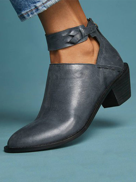 Women Plus Size Chunky Heel Booties Daily Zipper Boots-Boots-BelleChloe