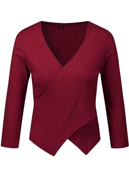 Solid Color V-Neck Long Sleeve Knitted Bottoming Top-Sweaters-BelleChloe