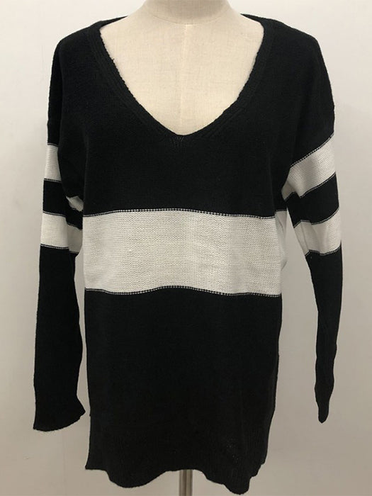 Long Sleeve Pullover Sexy V-Neck Striped Knit Sweaters-Sweaters-BelleChloe