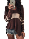 Long Sleeve Pullover Sexy V-Neck Striped Knit Sweaters - BelleChloe