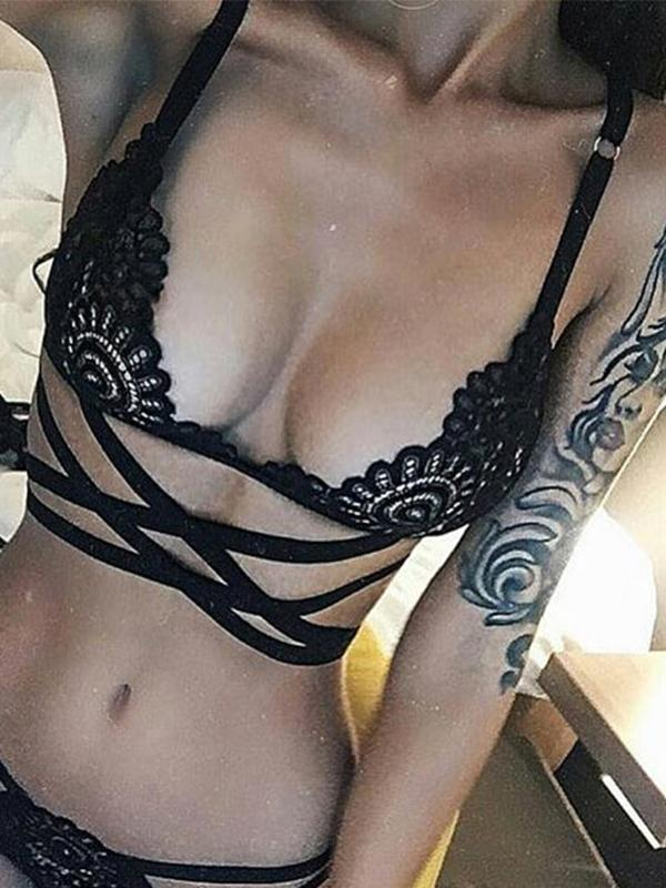 Sexy Lingerie Bra Set Translucent Lace Bandage Belt Hollow Bra Intimates - BelleChloe
