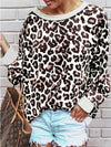 Leopard Print Crew Neck Long Sleeve Blouse