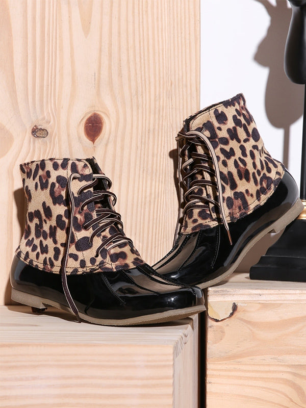 Leopard Print Waterproof Lace-up Duck's Palm Shape Boots - BelleChloe
