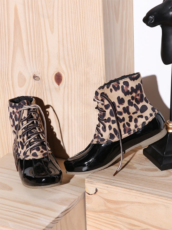 Leopard Print Waterproof Lace-up Duck's Palm Shape Boots