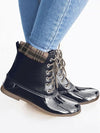 Plaid Lace Up Ankle Duck's Palm Shape Boots
