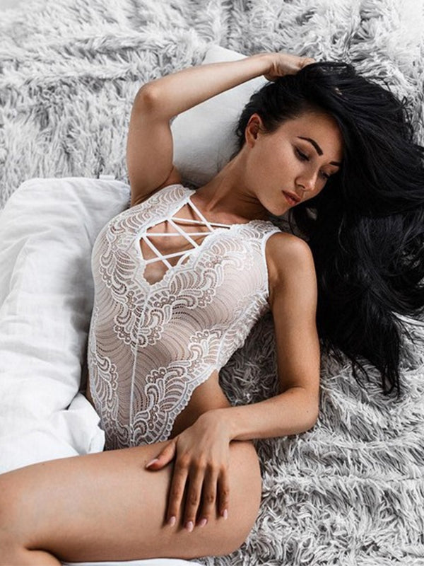 Women Lace Tassel Deep V Lingerie - BelleChloe