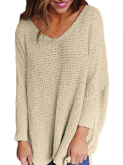 Fashion Lady Casual Jumper V Neck Pullover - BelleChloe