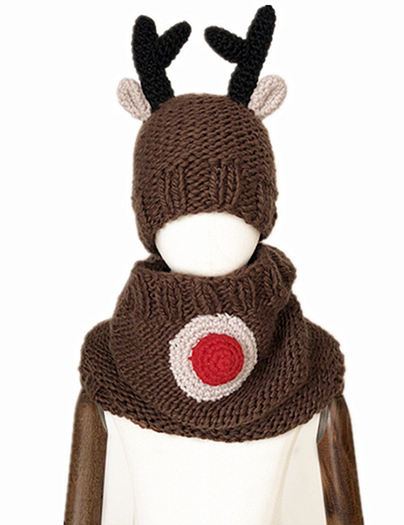 Antler Wool Warm Neck Hat Bib - BelleChloe