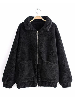 【Quality】Womens Long Sleeve Front Pockets Zipper Fleece Jacket - BelleChloe