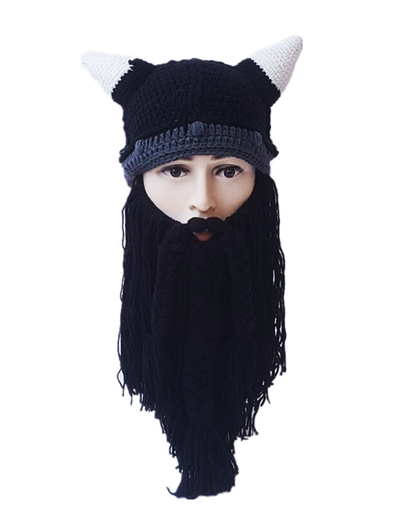 Autumn And Winter Adult Horned Bearded Viking Funny Woolen Hat - BelleChloe