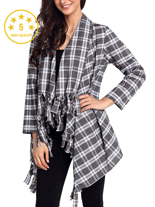 【Quality】Loose Casual Irregular Tassel Plaid Printed Cardigan Shirt - BelleChloe
