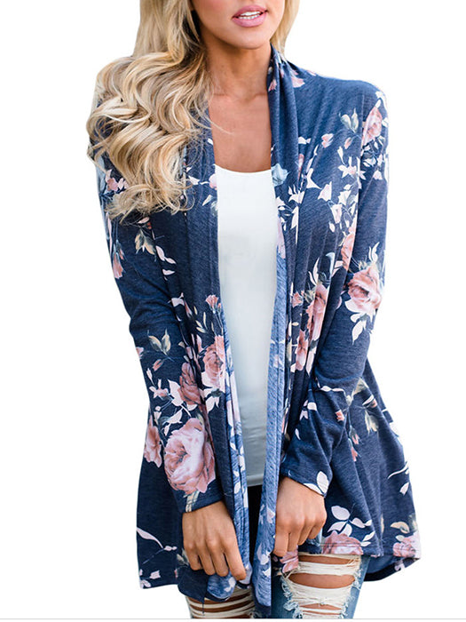 Floral Printed Casual Long Sleeve Light Cardigan - BelleChloe
