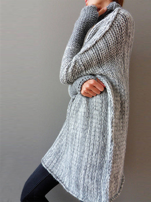 Casual Loose Color-Block High Neck Knitted Shift Sweater - BelleChloe
