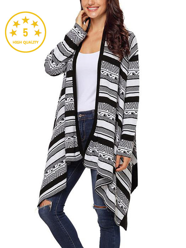 【Quality】Irregular Geometric Printed Knitted Long Sleeves Cascading Draped Front Open Cardigan - BelleChloe