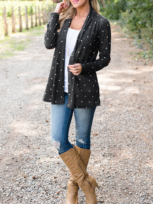 Polka Dot Draped No Buttons Long Sleeve Casual Coat - BelleChloe