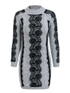 O Neck Twist Knitted Sweater Dress Lace Autumn Winter Dress-Dresses-BelleChloe