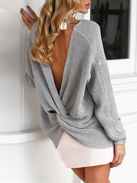 Backless Long Sleeve V-Neck Wrap Designed Knitted Sweater - BelleChloe