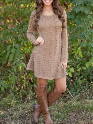 Solid Color Causal Long Sleeve Twist Knitted Sweaters Dress - BelleChloe