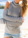 Backless Long Sleeve V-Neck Wrap Designed Knitted Sweater