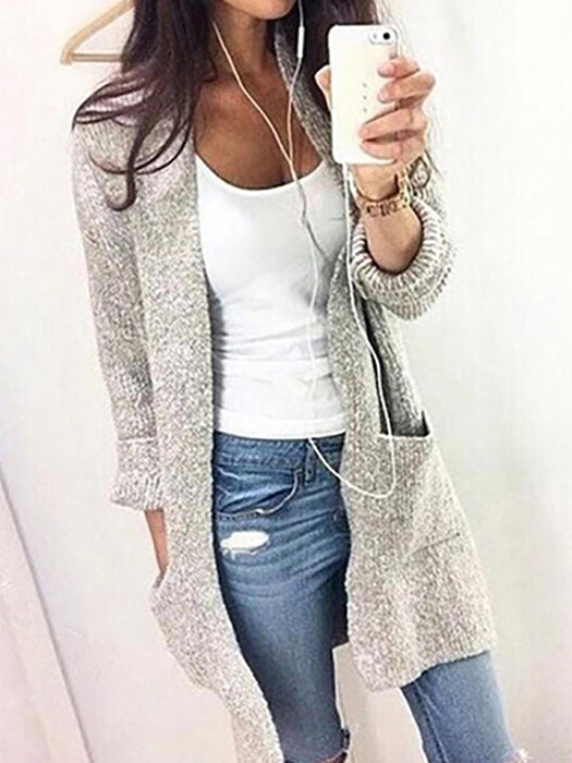 Plain With Pockets Collarless Cardigan - BelleChloe