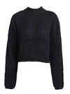 Winter Lantern Sleeve Knitted Sweater Loose Round Neck Sweater-Sweaters-BelleChloe