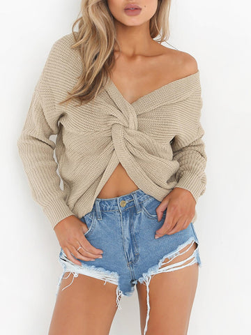 Solid Color Hollow Loose Casual Round Neck Knitted Sweater