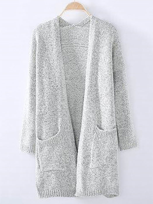 Plain With Pockets Collarless Cardigan-Cardigans-BelleChloe