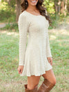 Solid Color Causal Long Sleeve Twist Knitted Sweaters Dress-Sweaters-BelleChloe