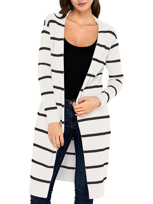 Casual V-Neck Open-Front Striped Long Cardigan Sweater - BelleChloe
