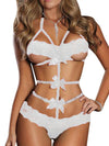 Sexy temptation bundled bow temptation lace three-point suit female prisoner - BelleChloe