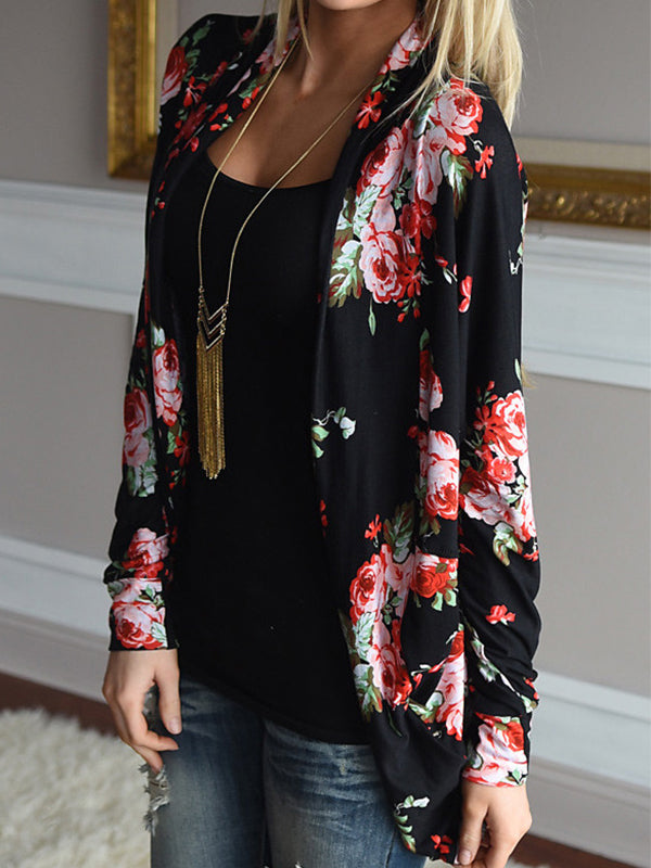Vintage Rose Printed Design Long Sleeve Cardigans - BelleChloe