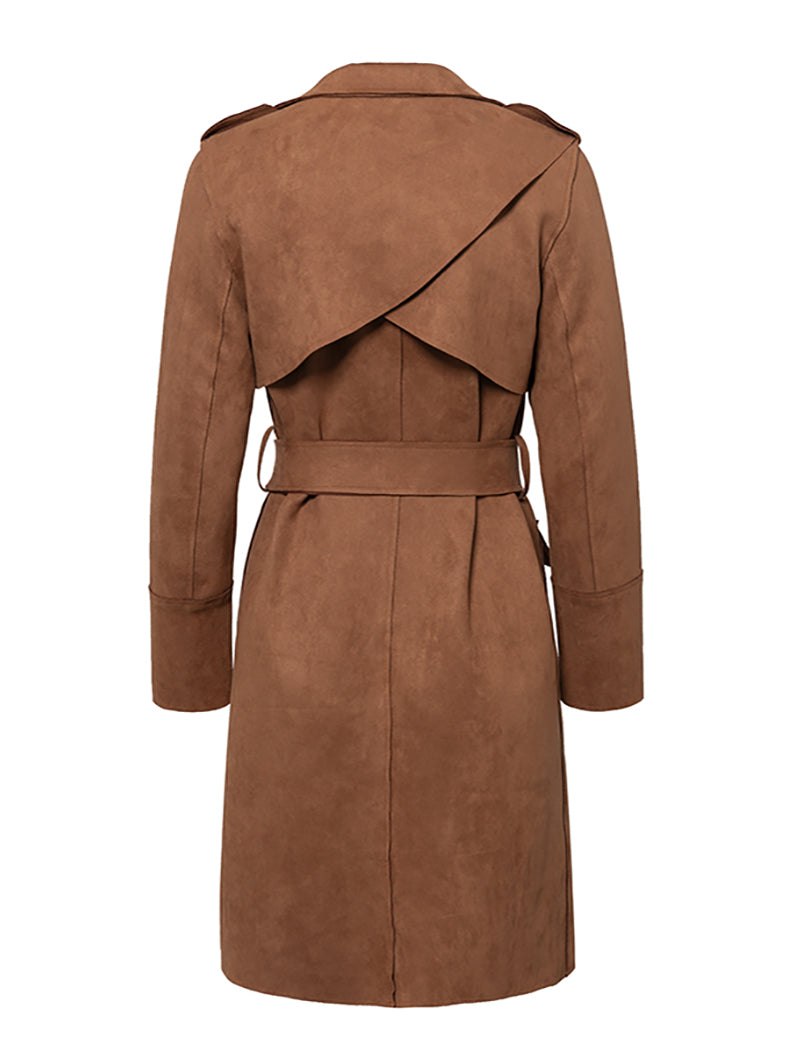 Suede Trench Coat Casual Leather Long Coat-Coats-BelleChloe